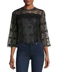 Romeo And Juliet Couture Floral Lace 3 4 Sleeve Blouse Black