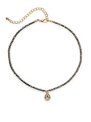 Cara Semi Precious Faceted Bead Strand Teardrop Crystal Pendant Necklace Gold Hematite