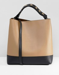 Warehouse Bucket Bag With Popper Strap In Tan Brown