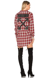 Off White Flannel Button Up Red