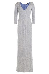 Jenny Packham Embellished Silk Floor Length Gown Blue