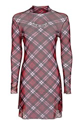 Topshop Tartan Mesh Dress By Ragged Priest Red
