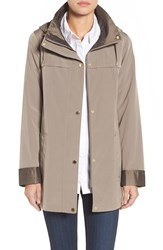 Gallery Women's Silk Look Hooded Raincoat Desert Sand