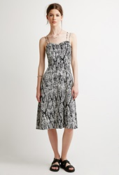 Forever 21 Abstract Ikat Print Dress Black Ivory