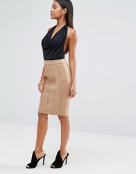 Naanaa Panelled Pencil Skirt In Suedette Taupe Brown
