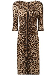 Dolce And Gabbana Fitted Leopard Print Dress Brown