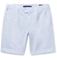 Incotex Cotton And Linen Blend Shorts Blue