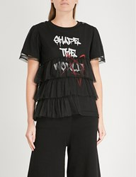 Aape By A Bathing Ape Text Print Cotton Jersey And Mesh T Shirt Black