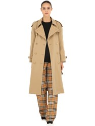 Burberry Westminster Long Cotton Trench Coat Beige