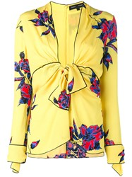 Proenza Schouler Floral Print Blouse Yellow And Orange