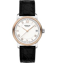 Montblanc 114336 Traditionred Gold Plated Stainless Steel And Leather Watch