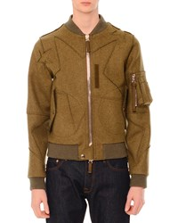 Red Valentino Cutout Star Print Wool Bomber Jacket Olive Green Men's