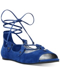 Carlos By Carlos Santana Eden Peep Toe Lace Up Flats Women's Shoes Sapphire