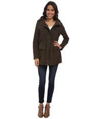 Dkny Hooded Anorak With Contrast Hood Dusty Olive Women's Coat