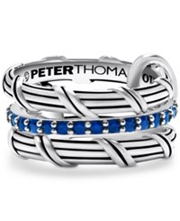 Peter Thomas Roth 3 Pc. Set Blue Sapphire Connected Stacking Rings 1 1 4 Ct. T.W. In Sterling Silver