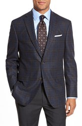 Men's Big And Tall David Donahue 'Conner' Classic Fit Plaid Wool And Cashmere Sport Coat Blue