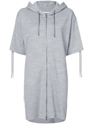 Moschino Drawstring Front Zip Hoodie Dress Women Polyester Viscose 40 Grey
