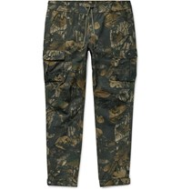 John Elliott Panorama Slim Fit Camouflage Print Cotton Ripstop Cargo Trousers Green