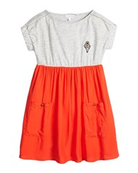 Little Marc Jacobs Cap Sleeve Colorblock Combo Dress Gray Coral