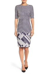 Gabby Skye Women's Geo Border Sheath Dress