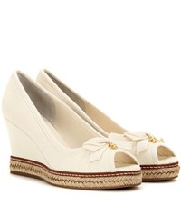 Tory Burch Jackie 85 Peep Toe Wedge Sandals Neutrals