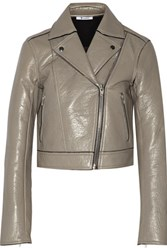 Alexander Wang T By Textured Leather Biker Jacket Stone