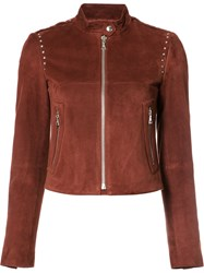 Theory Band Collar Leather Jacket Red