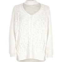 River Island Womens Cream Choker Knit Cable Knit Sweater