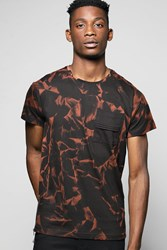 Boohoo Printed Tee With Woven Patch Pocket Black