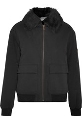 Yves Salomon Shearling Lined Twill Bomber Jacket Black