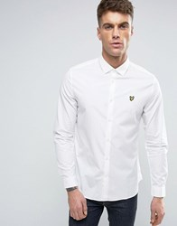Lyle And Scott Stretch Slim Fit Shirt Buttondown Eagle Logo In White White