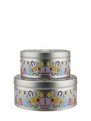 Alessi Garybaldi Set Of Two Tin Containers Multicolor