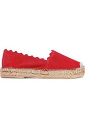 Iris And Ink Woman Hester Scalloped Suede Espadrilles Red