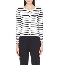 Claudie Pierlot Margo Striped Knitted Cardigan Blanc