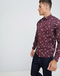 Celio Slim Fit Shirt With Stretch In Floral Print Purple
