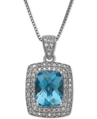 Macy's Swiss Blue Topaz 2 1 5 Ct. T.W. And Diamond 1 3 Ct. T.W. Pendant Necklace In Sterling Silver