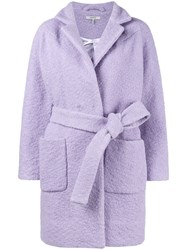 Ganni Fenn Textured Short Coat Polyester Wool Pink Purple
