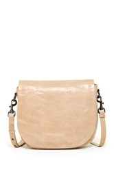 Badgley Mischka Bette Crocodile Embossed Leather Crossbody Beige