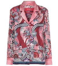 F.R.S For Restless Sleepers Ade Printed Silk Pajama Top Red