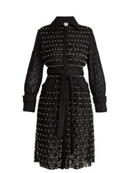 Huishan Zhang Sylvia Faux Pearl Embellished Lace Trench Coat Black