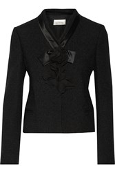 Valentino Appliqued Wool Blend Boucle Jacket Black