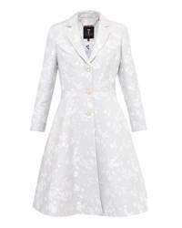 Ted Baker Fraully Oriental Jacquard Pleated Coat Light Grey