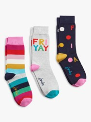 Joules Brill Bamboo Stripe And Friyay Novelty Ankle Socks Pack Of 3 Multi