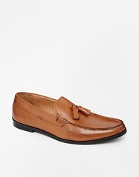 Frank Wright Leather Tassle Loafers Tan