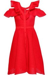 Maje Reglisse Cold Shoulder Ruffle Trimmed Crocheted Mini Dress Red