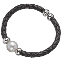 A B Davis Leather And Sterling Silver With Pearl Cuff Bracelet