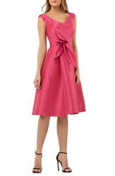 Kay Unger Sleeveless Stretch Mikado Fit And Flare Dress Hibiscus