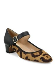 Valentino Plain Leopard Print Calf Hair And Leather Mary Jane Pumps Black Cavallino