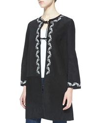 Alexa Chung For Ag The Walker Embroidered Suede Jacket Sloe Black