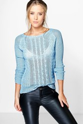 Boohoo Cable Knit Loose Stitch Jumper Sky
